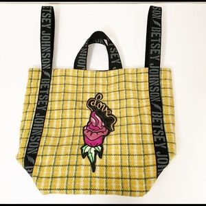 BETSY JOHNSON oversized yellow/green flannel tote